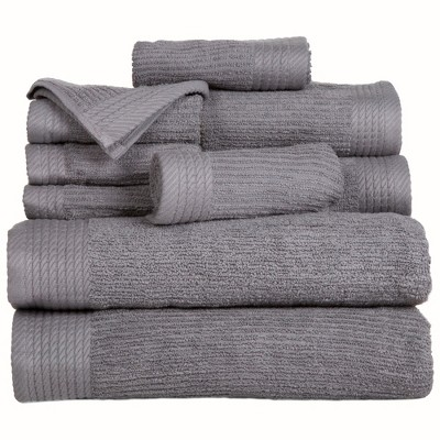 Solid Bath Towels And Washcloths 10pc Silver - Yorkshire Home