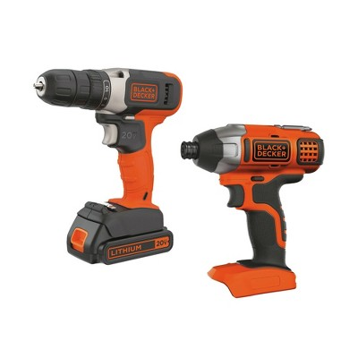 Black & Decker BD2KIT702IC 20V MAX Brushed Lithium-Ion 3/8 in. Cordless Drill Driver and 1/4 in. Impact Driver Combo Kit (1.5 Ah)