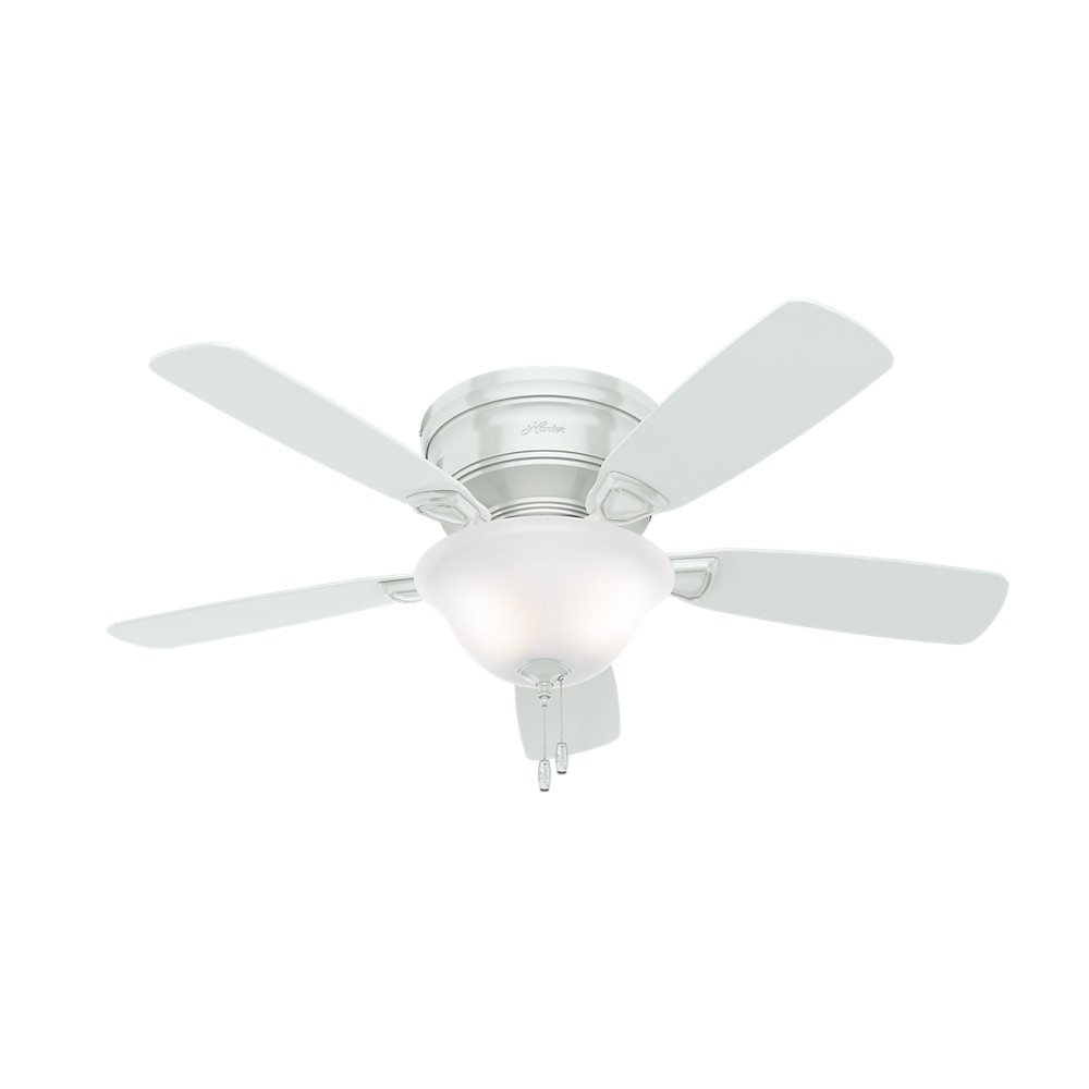 48 Low Profile Lighted Ceiling Fan White - Hunter Fan