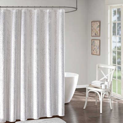 Melody Printed Shower Curtain White/Silver