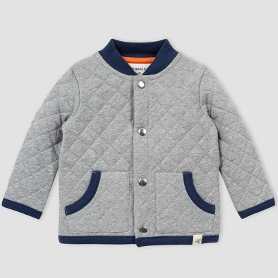 Burt's Bees Baby® Baby Boys' Organic Cotton Quilted Jacket - Gray/Blue 0-3M