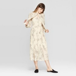 Women's Floral Print Long Sleeve High Neck Pleated Midi Dress - A New Day™ Cream