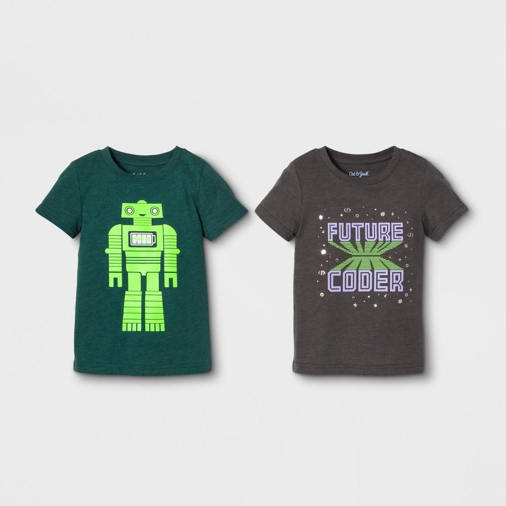 Toddler Boys' 2pk Graphic Short Sleeve T-Shirt - Cat & Jack Black/Green 5T