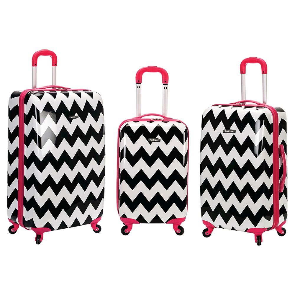 Rockland Safari 3pc Abs Luggage Set - Pink Chevron