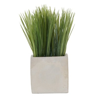 6.8  x 2.7  Artificial Grass Arrangement In Cement Pot Green/Gray - Lloyd & Hannah