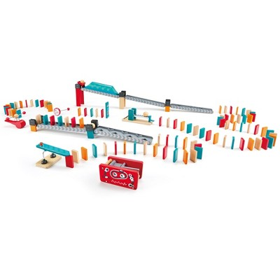Hape E1057 Robot Factory Kids 122 Piece Wooden Domino Track Game Set Learning STEM Toy with Double Sided Ramps, Balls, and Effects