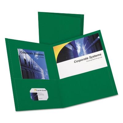 Oxford Twin-Pocket Folder Embossed Leather Grain Paper Hunter Green 25/Box 57556