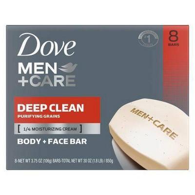 Dove Men+Care Deep Clean Body and Face Bar Soap - 8pk - 3.75oz each