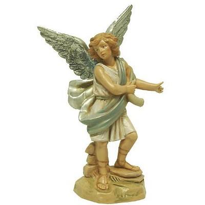 "Roman 5.75"" Blue and Cream White Hand Painted Raphael Angel Nativity Figurine"