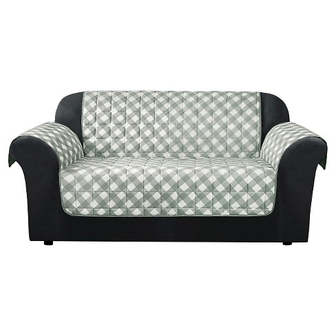 Furniture Flair Gingham Plaid Loveseat Cover Grey Sure Fit Target