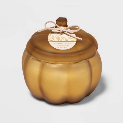 12oz Lidded Frosted Glass Pumpkin Jar 2-Wick Autumn Bliss Candle - Threshold™