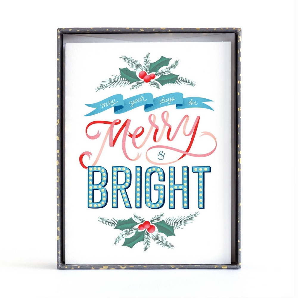 Image of 10ct Minted Merry & Bright Boxed Greeting Cards