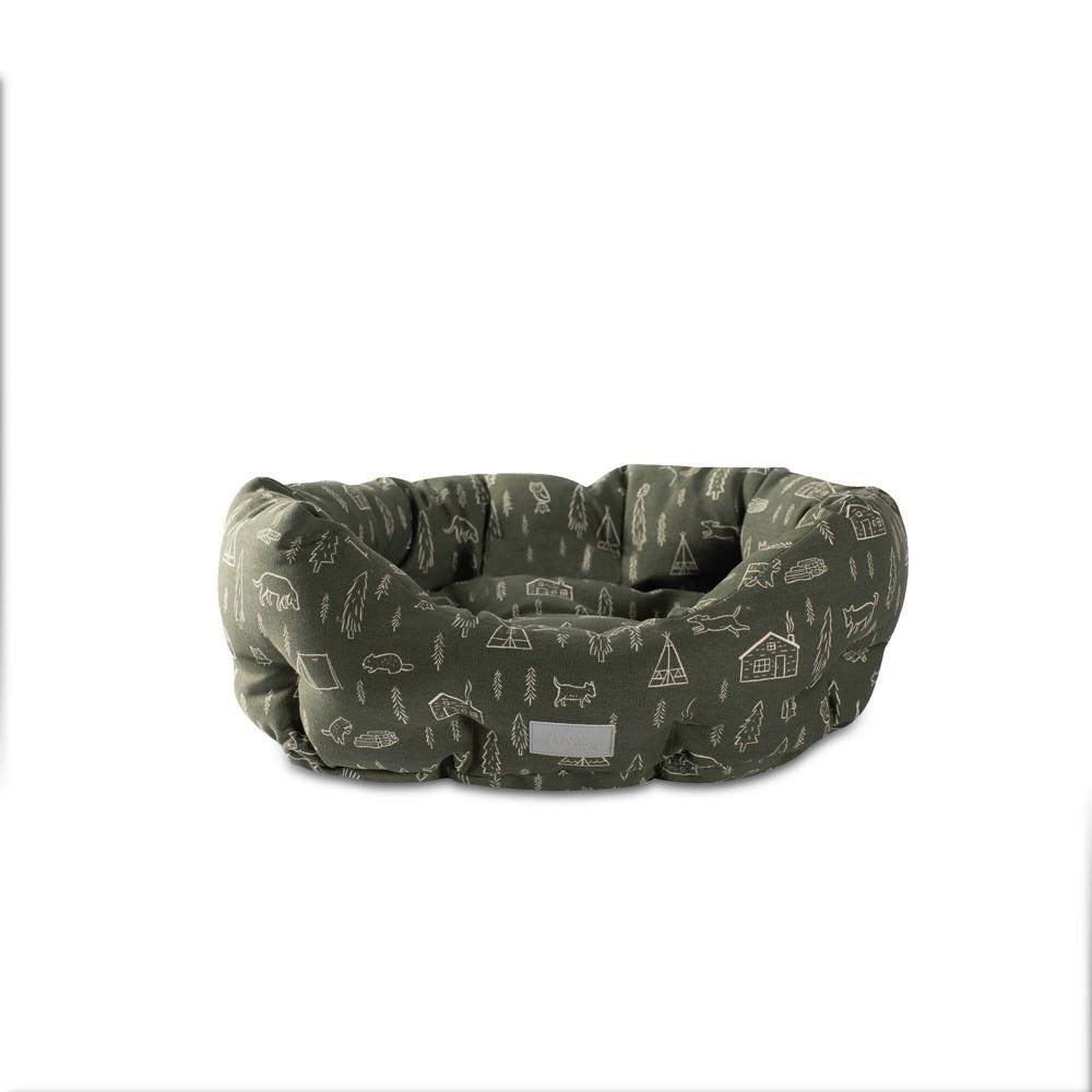 Petshop By Fringe Studio Camping Olive Round Cuddler Dog Bed S