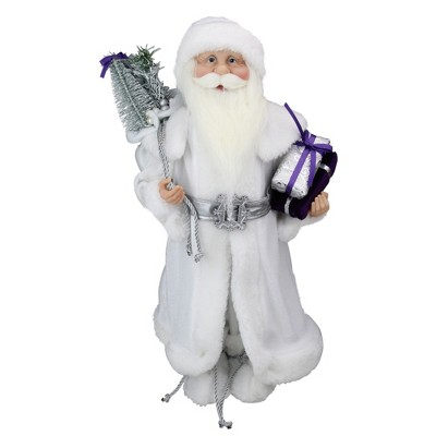 """Northlight 18.25"""" White and Gray Santa Claus with Presents Christmas Decoration"""
