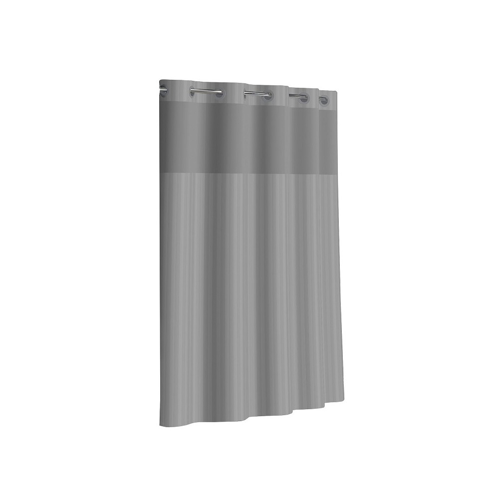 Hookless Victorian Satin Stripe Shower Curtain with Liner Gray