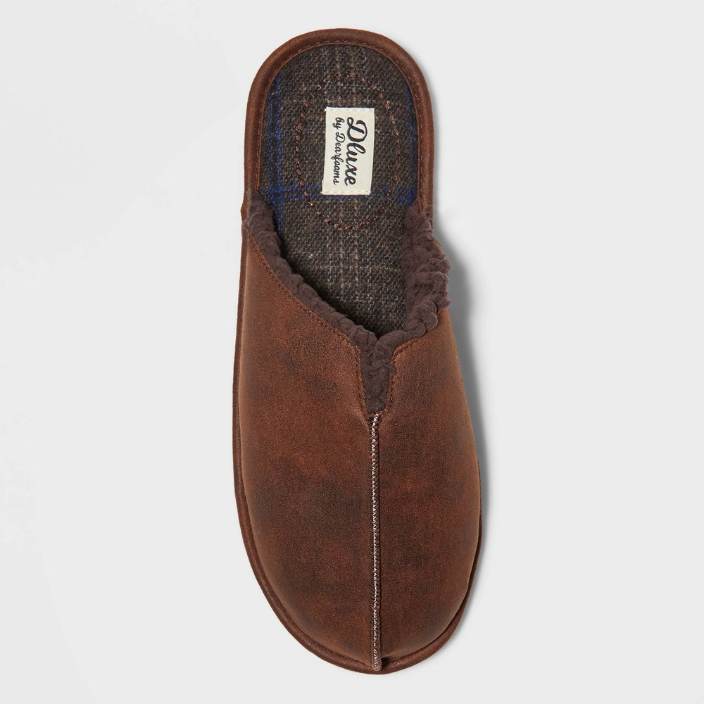 Image of Men's dluxe by dearfoams Fenton Slide Slippers - Brown M(9-10), Size: Medium (9-10)