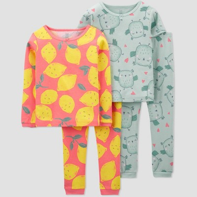 Toddler Girls' 4pc Lemon/Owl Pajama Set - Just One You® made by carter's Yellow/Pink/Green