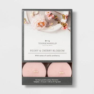 12pk Tealight Cherry Blossom and Peony Candles - Threshold™