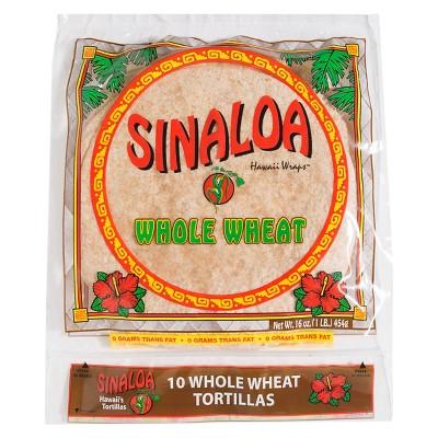 Sinaloa Whole Wheat Hawaii Wraps Tortillas - 16oz/10ct