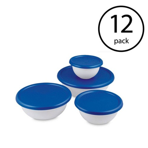 Sterilite 8 Piece Plastic Kitchen Covered Bowl Mixing Set with Lids (12 Pack) - image 1 of 4