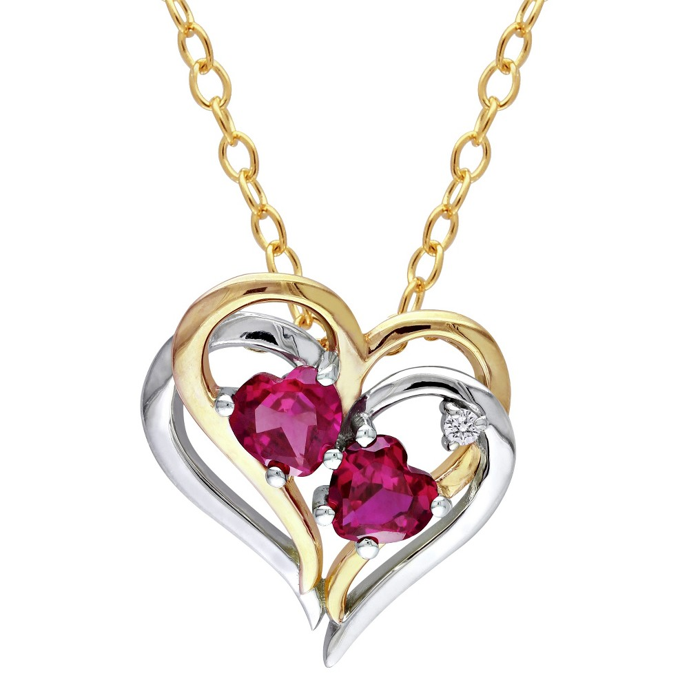 Image of 1.17 CT. T.W. Created Ruby and 0.02 CT. T.W. Diamond Prong Set Pendant Necklace in Sterling Silver - Red, Women's