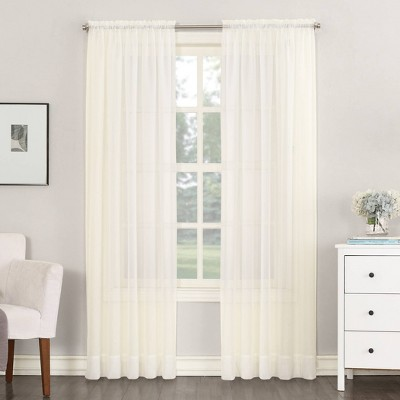 """59""""x54"""" Emily Sheer Voile Rod Pocket Curtain Panel Off White - No. 918"""