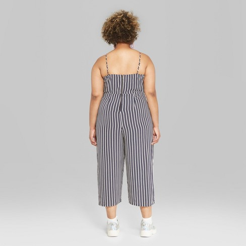 ffe5f829c51 Women s Plus Size Striped Strappy Cinched Jumpsuit - Wild Fable™ Navy White    Target
