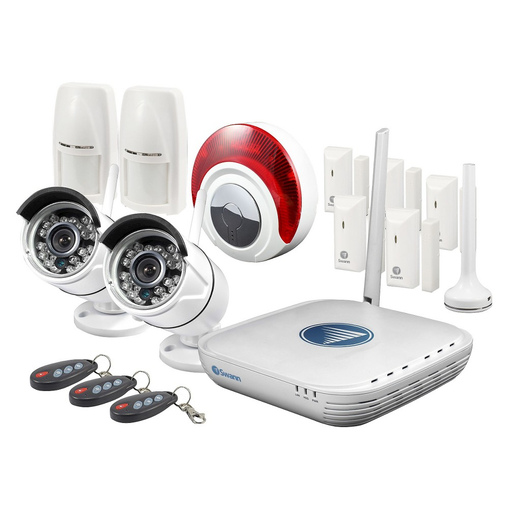 Home Security System Swann Protect your home with the Home Security System from Swann. This home security system comes with all the accessories you need to ensure your home has the added protection from potential intrusion.