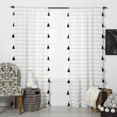 108 x54  Contrast Stripe Light Filtering Curtain Panels with Tassel Black/White - Opalhouse™