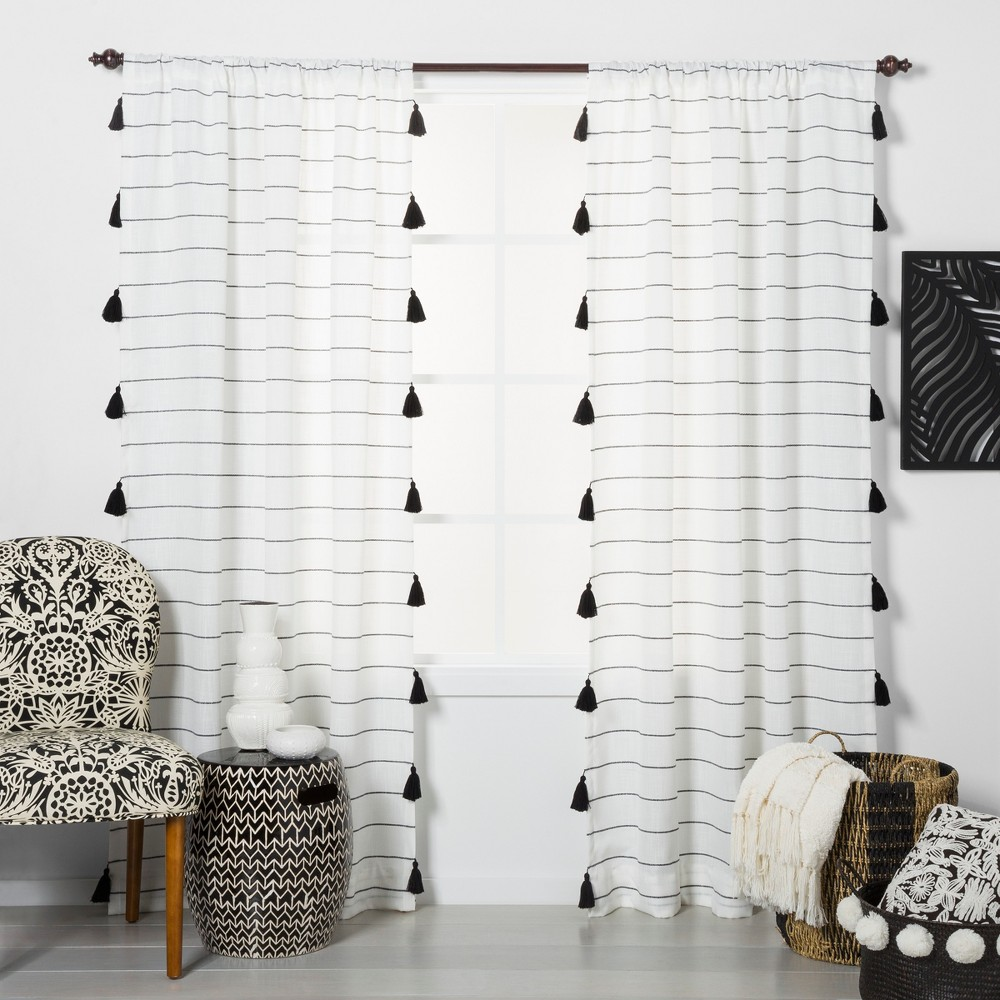 """Image of """"108""""""""x54"""""""" Contrast Stripe Light Filtering Curtain Panels with Tassel Black/White - Opalhouse"""""""