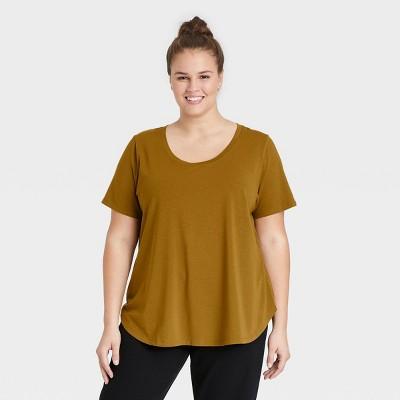 Women's Plus Size Short Sleeve Essential Relaxed Scoop Neck T-Shirt - Ava & Viv™
