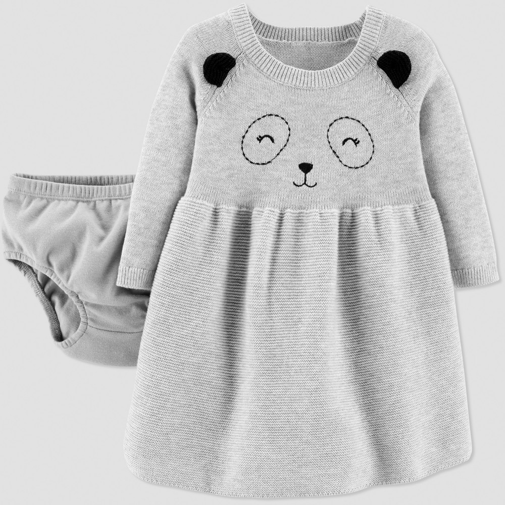 Baby Girls' Panda Sweater Dress - Just One You made by carter's Gray 3M