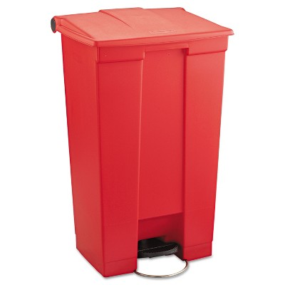 Rubbermaid Commercial Indoor Utility Step-On Waste Container Rectangular Plastic 23gal Red 6146RED