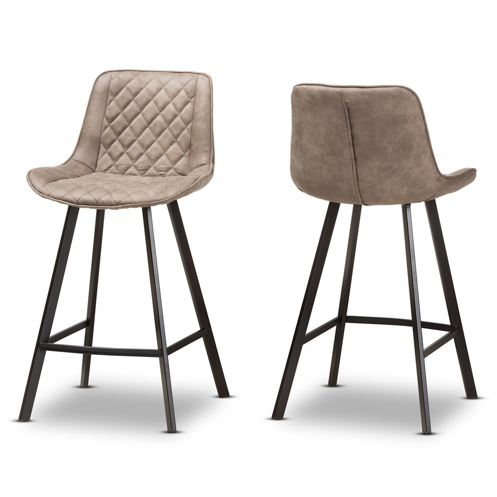 Set of 2 Pickford Midcentury Modern Fabric Upholstered Counter Stools Light Brown - Baxton Studio