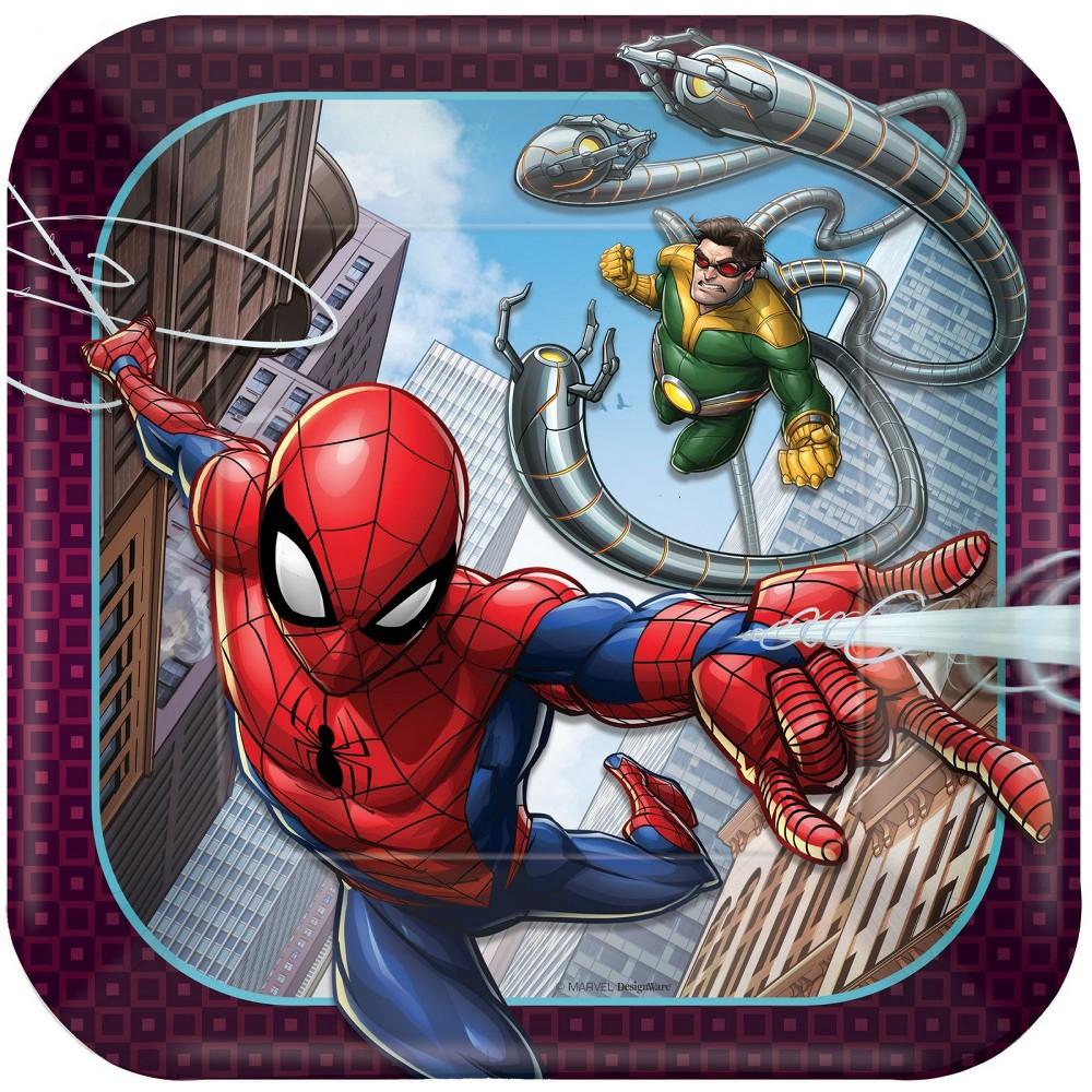 Image of 16ct Amscan Spider-Man Webbed Wonder Dessert Plates