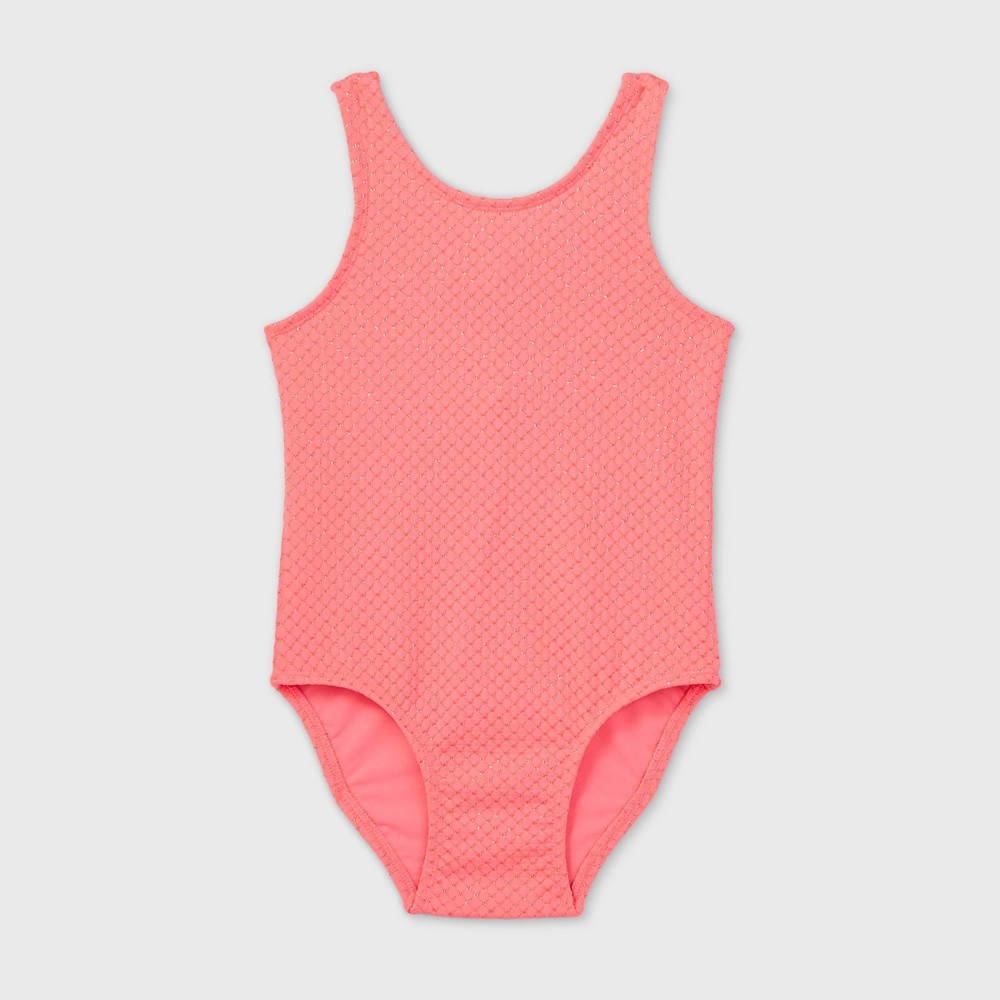 Toddler Girls 39 Textured Jacquard One Piece Swimsuit Cat 38 Jack 8482 Pink 2t