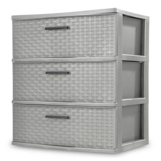 3 Drawer Wide Storage Tower Gray - Sterilite