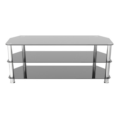 """60"""" TV Stand with Glass Shelves - Silver/Black"""