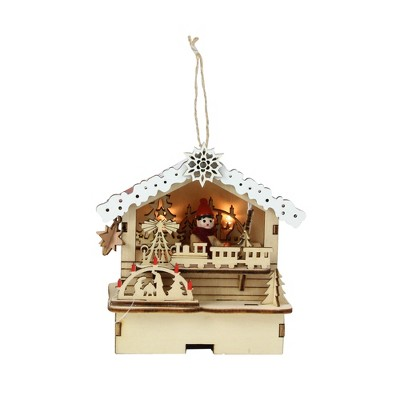 """Roman 4.25"""" LED Lighted Wooden Laser Cut Toy Shop Christmas Ornament - Brown/White"""