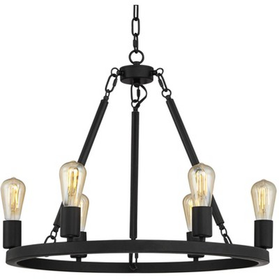 """Franklin Iron Works Matte Black Wagon Wheel Chandelier 24 1/2"""" Wide Industrial Rustic Farmhouse 6-Light Fixture Dining Room House"""