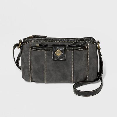 Bolo Zip Closure Montville Crossbody Bag with Wristlet - Almost Black