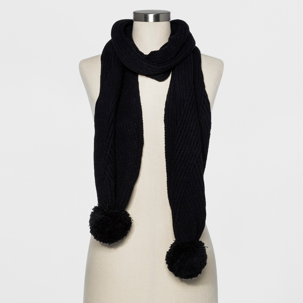 Women's Ribbed Poms Scarf - A New Day Black