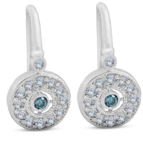"Pompeii3 1/3ct Pave Diamond Blue & White Vintage Halo Earrings 10K White Gold 1/2"" Tall - image 1 of 4"