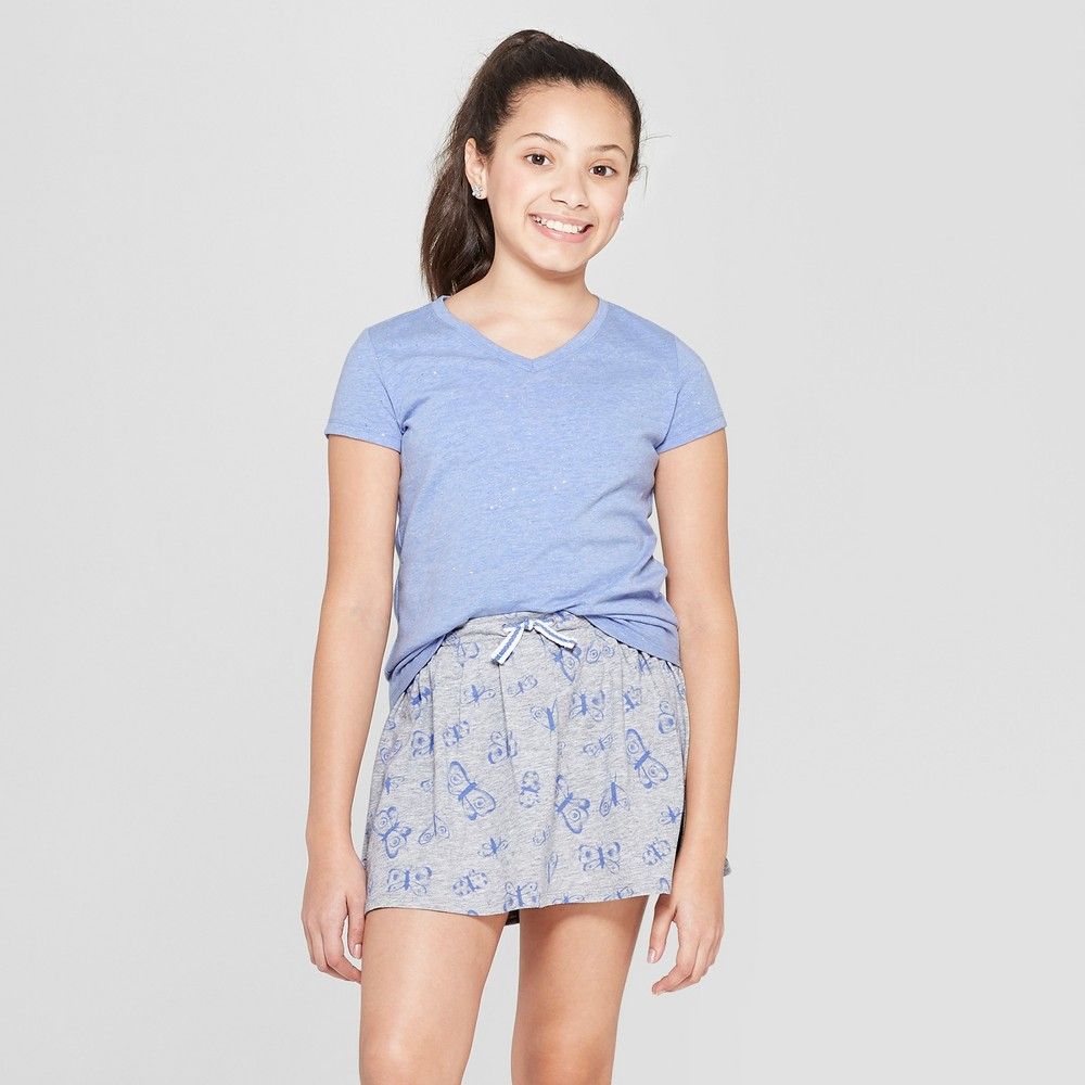 Girls' Sparkle Short Sleeve V-Neck T-Shirt - Cat & Jack Periwinkle S, Blue