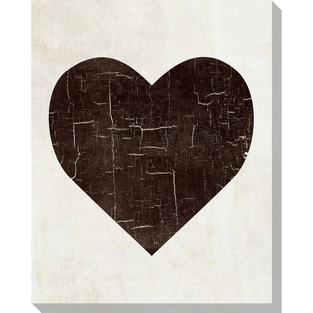 Image of Bold Shapes Heart Unframed Wall Canvas Art - (20X24)