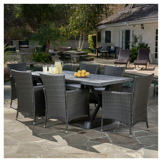 Capri 7pc Dining Set with Cushions - Gray - Christopher Knight Home