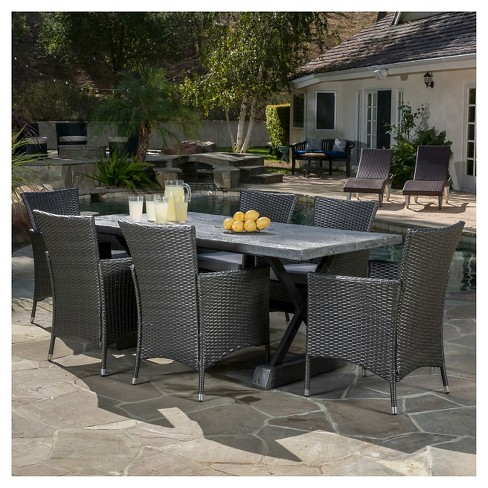 Capri 7pc Light Weight Concrete Patio Dining Set with Cushions - Gray - Christopher Knight Home - image 1 of 4