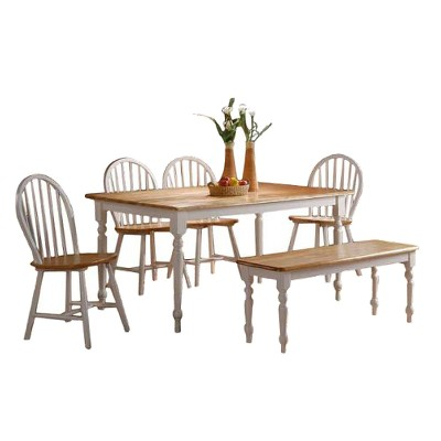 6pc Farmhouse Dining Set Wood/White - Boraam