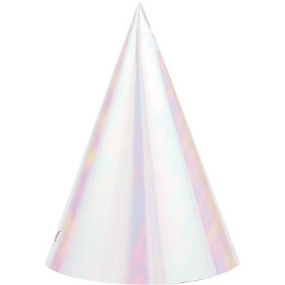 8ct Iridescent Party Hats