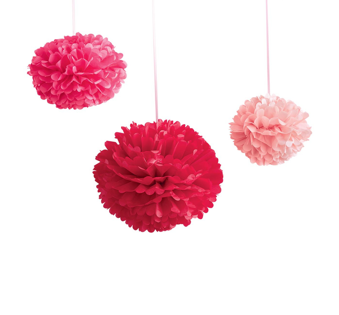3ct Valentine's Day Pompom Garland Buntings Red/ Pink - Spritz™ - image 1 of 1